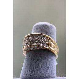 Jewelry & Adornments Ring, Gold Band with Clear CZ, sz 8