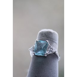 Jewelry & Adornments Ring, Blue Topaz & Clear CZ in Sterling Silver, sz. 8.5