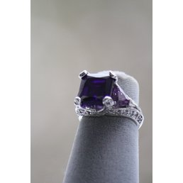 Jewelry & Adornments Ring, Purple & Clear CZs in Sterling Silver, sz. 5