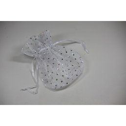 Jewelry & Adornments Bag, Sheer White w/Silver Dots, Medium