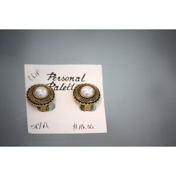 Jewelry & Adornments Earring, Clip - Gold Button Pearl