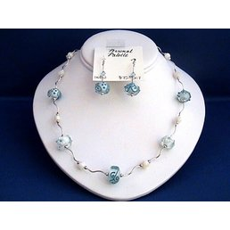 Jewelry & Adornments Set Necklace & Earring, Blue & White