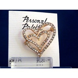 Jewelry & Adornments Pin, Small Gold/Clear CZ Double Heart