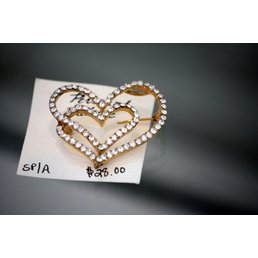 Jewelry & Adornments Pin, Large Gold/Clear CZ Double Heart