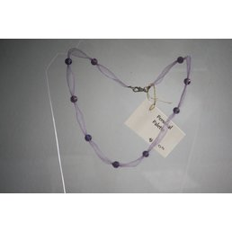 Jewelry & Adornments Necklace, Purple Ribbon with Bead
