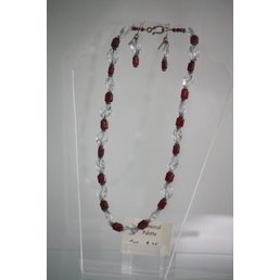 Jewelry & Adornments Set, Necklace, Earring & Bracelet, Red/Silver