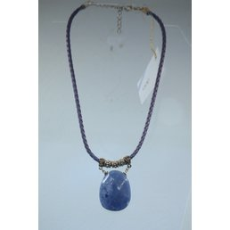 Jewelry & Adornments Necklace, Blue Leather/Stone