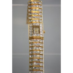 Jewelry & Adornments Watch, Gold Band with cz surround face