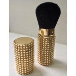 Cosmetics Retractable Rhinestone Brush - Gold