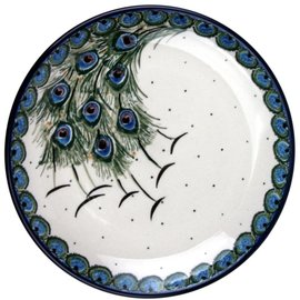 Ceramika Artystyczna Dinner Plate Peacock Feather Train