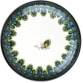 Ceramika Artystyczna Dinner Plate Peacock Feather