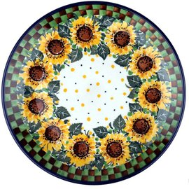 Ceramika Artystyczna Dinner Plate Checkered Sunflowers Signature