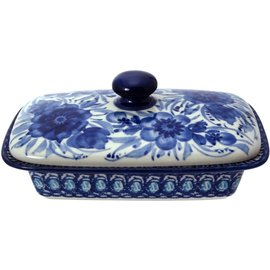 Ceramika Artystyczna Flat Butter Dish Blue on Blue Signature