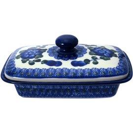 Ceramika Artystyczna Flat Butter Dish Blue Rose