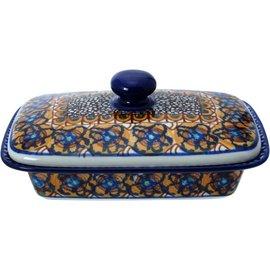 Ceramika Artystyczna Flat Butter Dish Cottage Amber Signature 3.5