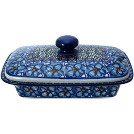 Ceramika Artystyczna Flat Butter Dish Cottage Blue Signature