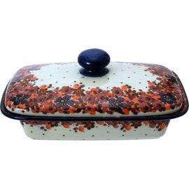 Ceramika Artystyczna Flat Butter Dish Cranberry Confetti Flower Signature