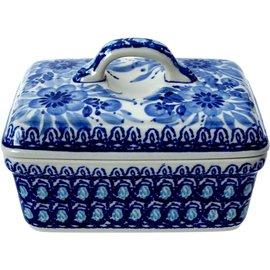 Ceramika Artystyczna Rectangular Butter Dish Blue on Blue Signature