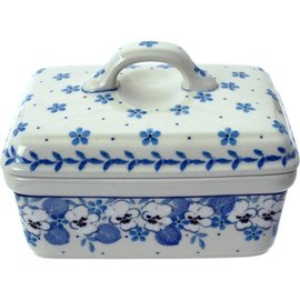 Ceramika Artystyczna Rectangular Butter Dish White Pansy