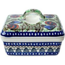 Ceramika Artystyczna Rectangular Butter Dish Rooster (Chanticleer) Signature