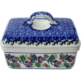Ceramika Artystyczna Rectangular Butter Dish Cranberry Vine