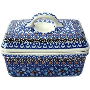 Ceramika Artystyczna Rectangular Butter Dish Cottage Blue Signature