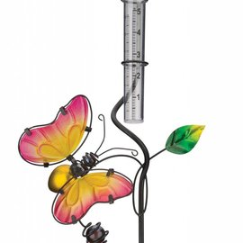 Rain Gauge with Butterfly