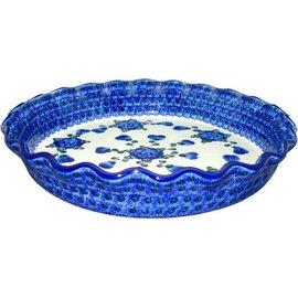 Ceramika Artystyczna Deep Pie Plate Blue Rose