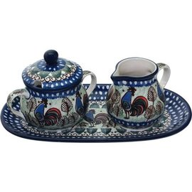 Ceramika Artystyczna Cream & Sugar Set Rooster (Chanticleer) Signature