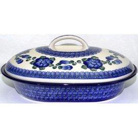 Ceramika Artystyczna Oval Covered Baker Size 2 Blue Rose