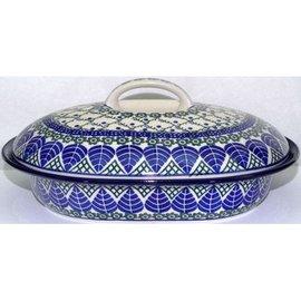 Ceramika Artystyczna Oval Covered Baker Size 2 Blue Spruce