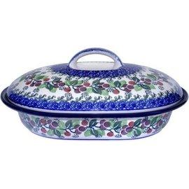 Ceramika Artystyczna Oval Covered Baker Size 2 Cranberry Vine