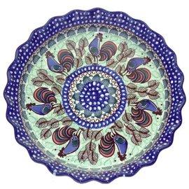 Ceramika Artystyczna Deep Pie Plate Rooster (Chanticleer) Signature