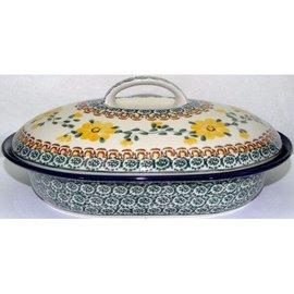 Ceramika Artystyczna Oval Covered Baker Size 2 Rose Yellow
