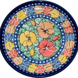Ceramika Artystyczna Bread & Butter Plate Watercolor Pansies Signature 4