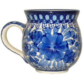 Ceramika Artystyczna Bubble Cup Medium Blue on Blue Signature