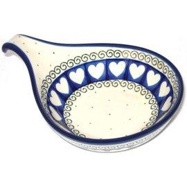Ceramika Artystyczna Spoon Rest Size 2 Ring of Hearts
