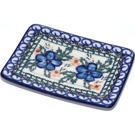 Ceramika Artystyczna Rectangular Soap Dish Apple Blossom Blue