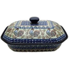 Ceramika Artystyczna Covered Rectangular Baker Rooster (Chanticleer) Signature