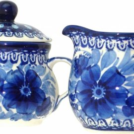 Ceramika Artystyczna Cream & Sugar Set Blue on Blue Signature