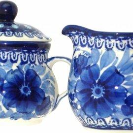 Ceramika Artystyczna Cream & Sugar Set Blue on Blue Signature
