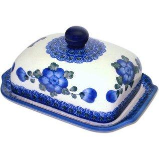 Ceramika Artystyczna Domed Butter Dish Blue Rose