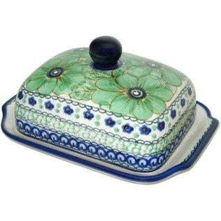 Ceramika Artystyczna Domed Butter Dish Cosmos Green Signature 4