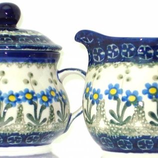 Ceramika Artystyczna Cream & Sugar Set Poppies Blue