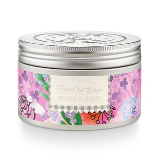 Lg Candle Tin, Fresh Cut Lilacs