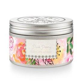 Lg Candle Tin, Pink Peony