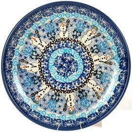Ceramika Artystyczna Dinner Plate Folk Art Snowman Signature