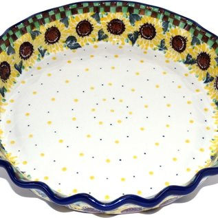 Ceramika Artystyczna Deep Pie Plate Checkered Sunflowers Signature
