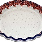 Ceramika Artystyczna Deep Pie Plate Cranberry Confetti Flower Signature