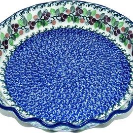 Ceramika Artystyczna Deep Pie Plate Cranberry Vine